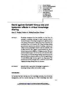 David against Goliath? Group size and bystander effects in virtual ...