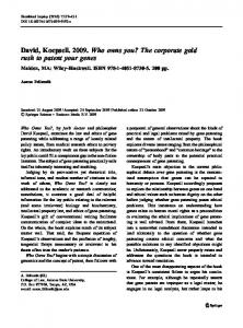 David, Koepsell. 2009. Who owns you? The corporate ... - Springer Link