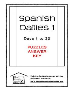 Days 1 to 30 PUZZLES ANSWER KEY