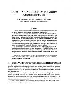 ddm { a cache-only memory architecture - CiteSeerX