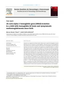 De novo alpha 2 hemoglobin gene (HBA2) mutation in a child with ...
