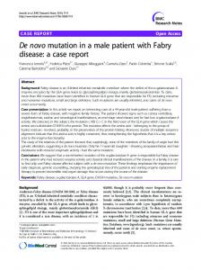 De novo mutation in a male patient with Fabry disease - BioMedSearch