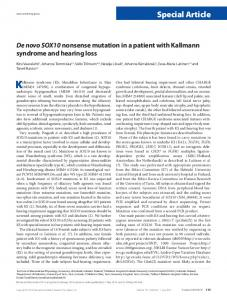 De novo SOX10 nonsense mutation in a patient with ... - Nature