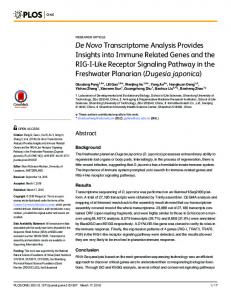 De Novo Transcriptome Analysis Provides Insights into ... - PLOS