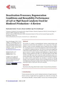 Deactivation Processes, Regeneration Conditions and Reusability ...
