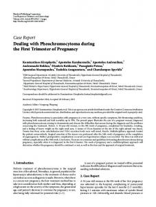 Dealing with Pheochromocytoma during the First Trimester of Pregnancy