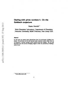 Dealing with prime numbers I.: On the Goldbach conjecture