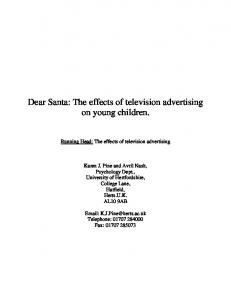 Dear Santa: The effects of television advertising on young ... - CiteSeerX