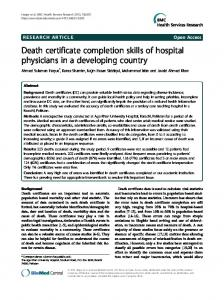 Death certificate completion skills of hospital ... - BioMedSearch