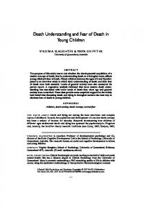 Death Understanding and Fear of Death in Young Children