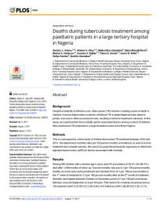 Deaths during tuberculosis treatment among paediatric ... - PLOS