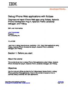 Debug iPhone Web applications with Eclipse - IBM