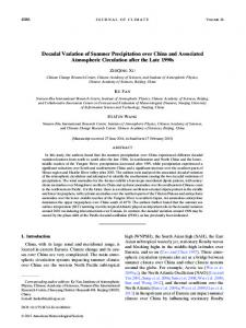 Decadal Variation of Summer Precipitation over China and Associated ...