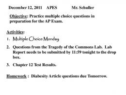 December 12, 2011 APES Mr. Schuller Objective: Practice multiple ...