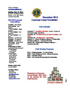 December 2013 Leawood Lions Newsletter - LeawoodLions.org