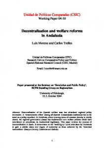 Decentralisation, policy innovation and welfare reforms in Andalusia
