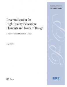 Decentralization for High-Quality Education - ERIC
