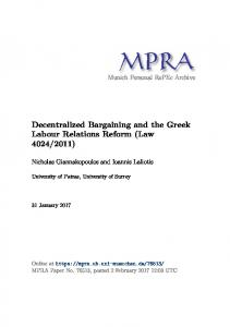 Decentralized Bargaining and the Greek Labour Relations Reform ...