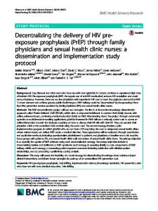 Decentralizing the delivery of HIV pre-exposure prophylaxis (PrEP ...