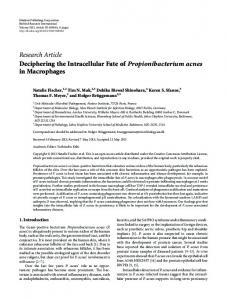 Deciphering the Intracellular Fate of Propionibacterium acnes in ...