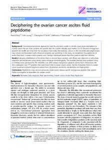 Deciphering the ovarian cancer ascites fluid ... - World News MD