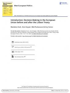 Decision-Making in the European Union before and ...