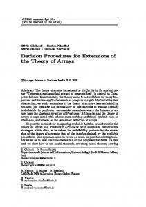 Decision Procedures for Extensions of the Theory of Arrays - CiteSeerX