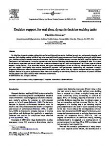 Decision support for real-time, dynamic decision-making tasks