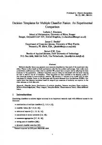 Decision Templates for Multiple Classifier Fusion - +* Tudalenau