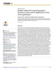 decisions in team sports: Applications to the soccer goalkeeper - PLOS