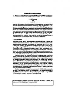 Declarable Modifiers: A Proposal to Increase the Efficacy ... - CiteSeerX