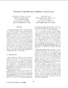 Declarative Specification of Software Architectures
