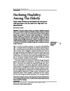 Declining Disability Among The Elderly