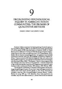 Decolonizing psychological inquiry in American Indian communities ...