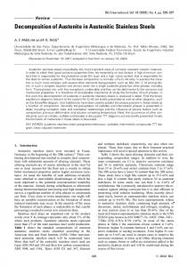 Decomposition of Austenite in Austenitic Stainless Steels - J-Stage