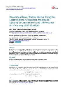 Decomposition of Independence Using the Logit Uniform Association ...