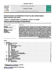 Decontamination and disinfection of water by solar