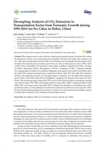 Decoupling Analysis of CO2 Emissions in Transportation ... - MDPI