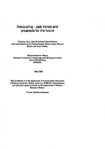 Decoupling - past trends and prospects for the future - CiteSeerX