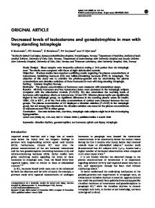 Decreased levels of testosterone and gonadotrophins in men with ...