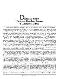 Decreased Serum Cholesterol-binding Reserve in Diabetes Mellitus