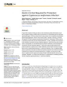 Dectin-3 Is Not Required for Protection against Cryptococcus ... - PLOS