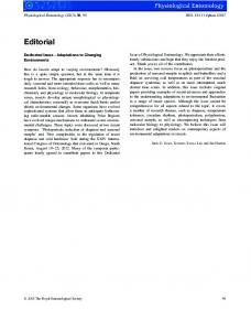 Dedicated Issue Adaptations to Changing ... - Wiley Online Library