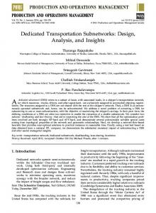 Dedicated Transportation Subnetworks: Design ... - Wiley Online Library