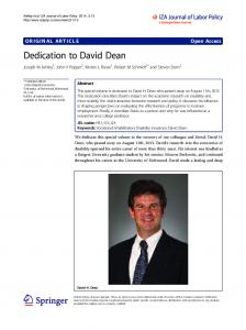 Dedication to David Dean - IZA Journal of Labor Policy