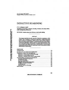 DEDUCTIVE REASONING - UCSD Cognitive Science