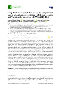 Deep Artificial Neural Networks for the Diagnostic of Caries ... - MDPI