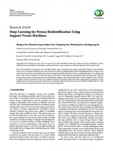 Deep Learning for Person Reidentification Using Support Vector ...