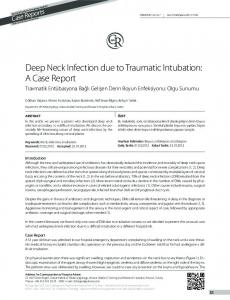 Deep Neck Infection due to Traumatic Intubation: A Case ... - DergiPark