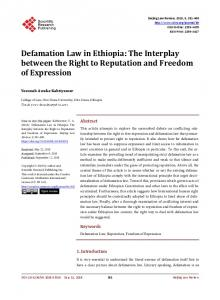 Defamation Law in Ethiopia - Scientific Research Publishing